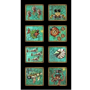 Aquatic Steampunkery Steampunk Picture Patch 24x44 Cotton Fabric Panel
