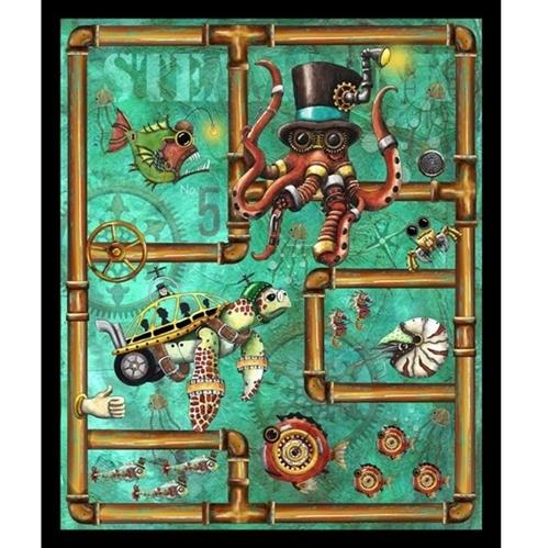 Aquatic Steampunkery Steampunk Retro Futuristic Cotton Fabric Panel