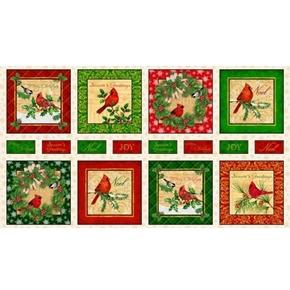 Christmas Cardinals Cardinal Picture Patch 24x44 Cotton Fabric Panel
