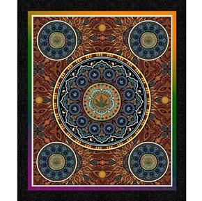 Happy Harvest Cannabis Bohemian Decorative Large Cotton Fabric Panel