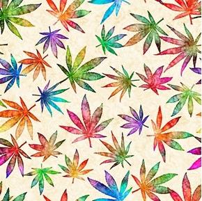 Happy Harvest Large Cannabis Leaves Rainbow Color Cream Cotton Fabric