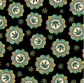 Happy Harvest Cannabis Medallions and Leaves Black Cotton Fabric