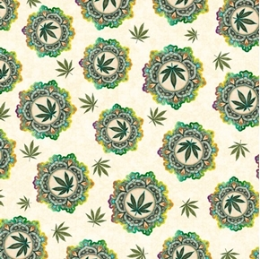 Happy Harvest Cannabis Medallion and Leaves Cream Cotton Fabric