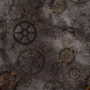 Aquatic Steampunkery Gears Clock Parts Charcoal Gray Cotton Fabric