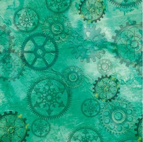 Aquatic Steampunkery Gears Clock Parts Green Cotton Fabric