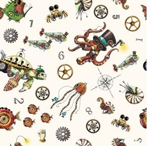 Aquatic Steampunkery Steampunk Toss Futuristic White Cotton Fabric