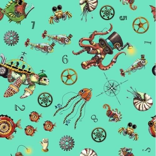Aquatic Steampunkery Steampunk Toss Futuristic Aqua Cotton Fabric