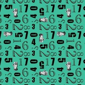 Aquatic Steampunkery Number Toss Numbers Hands Aqua Cotton Fabric