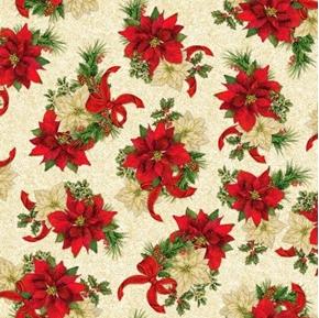 Elegant Poinsettias Spaced Poinsettia Holiday Gold Cream Cotton Fabric