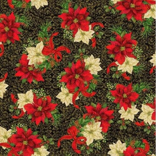 Elegant Poinsettias Spaced Poinsettia Holiday Gold Black Cotton Fabric