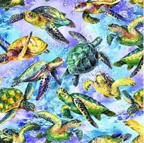 The Reef Sea Turtles Swimming Ocean Turtle Cotton Fabric
