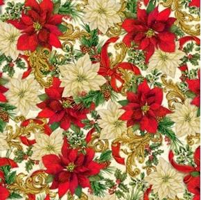 Elegant Poinsettias Packed Poinsettia Holiday Cream Cotton Fabric
