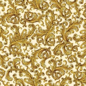 Elegant Poinsettias Scroll Decorative Gold on Cream Cotton Fabric