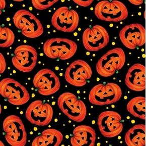 Tricks and Treats Halloween Pumpkin Toss Pumpkins Black Cotton Fabric