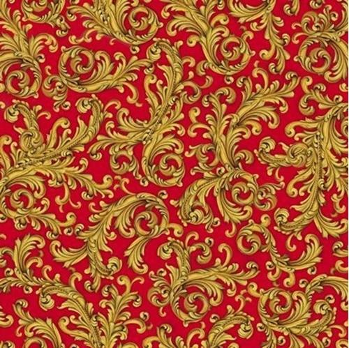 Elegant Poinsettias Scroll Decorative Gold on Red Cotton Fabric