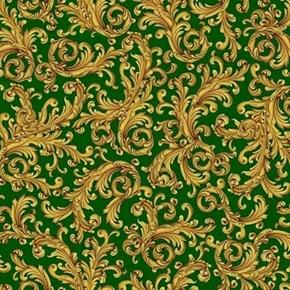 Elegant Poinsettias Scroll Decorative Gold on Green Cotton Fabric