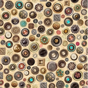 Sew Lovely Buttons Vintage Ornate Sewing Notions Cream Cotton Fabric