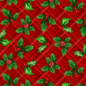 Christmas Cardinals Holly Plaid Holiday Greens on Red Cotton Fabric