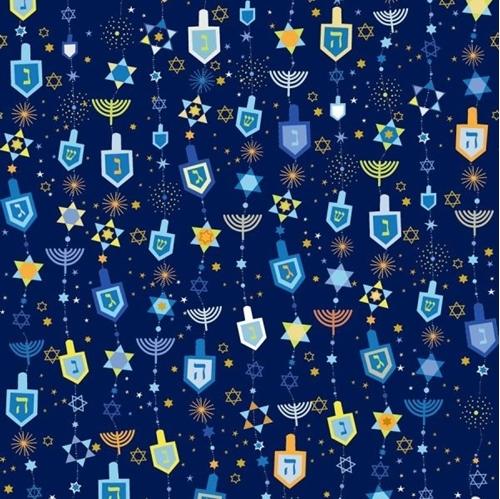Hannukah Greetings Motifs Dreidels Stars Menorahs Navy Cotton Fabric