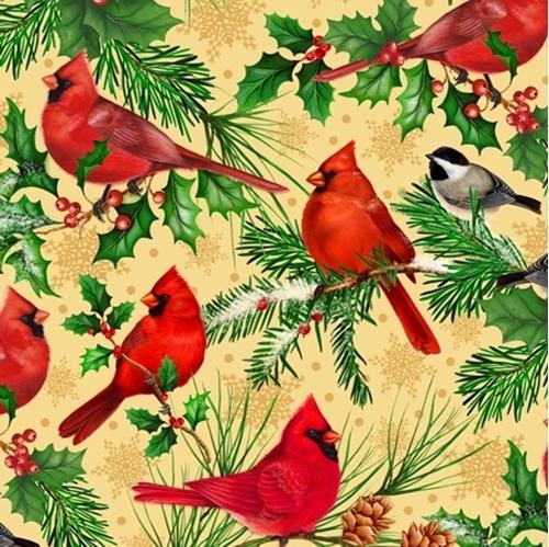 Christmas Cardinals Cardinal Chickadee Branches Tan Cotton Fabric