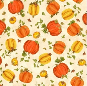Fall Splendor Tossed Pumpkins Yellow Orange Pumpkin Cream Cotton Fabric