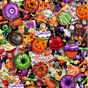 Tricks and Treats Halloween Cookies Candy Corn Donuts Cotton Fabric