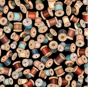 Sew Lovely Thread Spools Colorful Sewing Notions Black Cotton Fabric