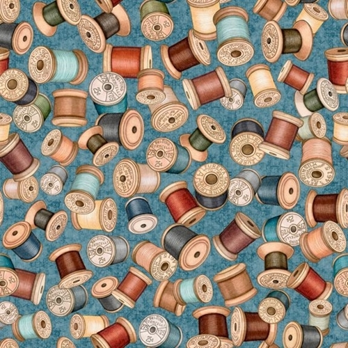 Sew Lovely Thread Spools Colorful Sewing Notions Teal Cotton Fabric