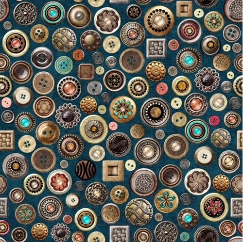 Sew Lovely Buttons Vintage Ornate Sewing Notions Blue Cotton Fabric