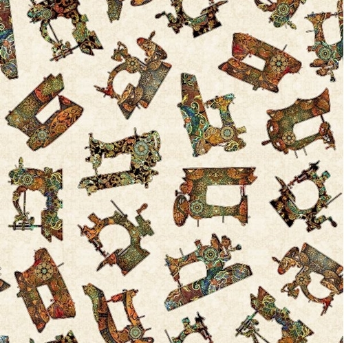Sew Lovely Sewing Machine Toss Antique Machines Cream Cotton Fabric