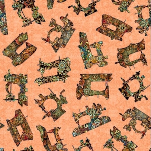 Sew Lovely Sewing Machine Toss Antique Machines Coral Cotton Fabric