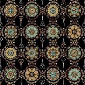 Sew Lovely Scissor Medallion Decorative Notions Black Cotton Fabric