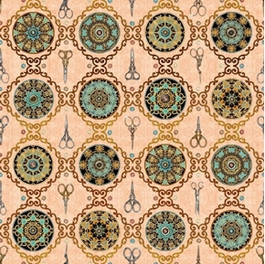 Sew Lovely Scissor Medallion Decorative Notions Coral Cotton Fabric