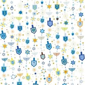 Hanukkah Greetings Motifs Dreidels Stars Menorahs White Cotton Fabric