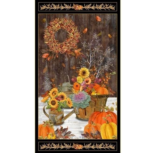 Fall Splendor Harvest Sunflowers Pumpkins 24x44 Cotton Fabric Panel