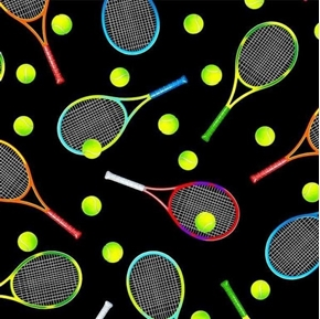 Move Your Body Tossed Tennis Gear Balls Racquets Black Cotton Fabric