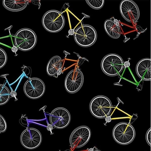 Move Your Body Tossed Bicycles Bikes on Black Cotton Fabric