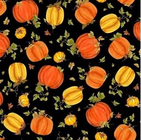 Fall Splendor Tossed Pumpkins Yellow Orange Pumpkin Black Cotton Fabric