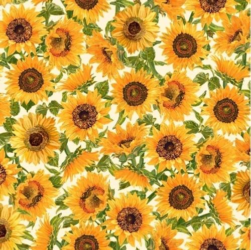 Fall Splendor Sunflowers Artistic Sunflower Cream Cotton Fabric