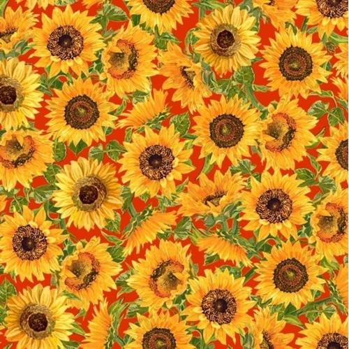 Fall Splendor Sunflowers Artistic Sunflower Orange Cotton Fabric