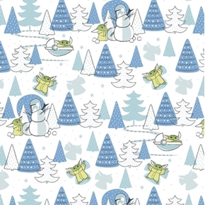 Character Holiday Child Snow Day Baby Yoda Star Wars Cotton Fabric