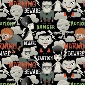 Halloween Character II Beware Caution Danger Monster Cotton Fabric