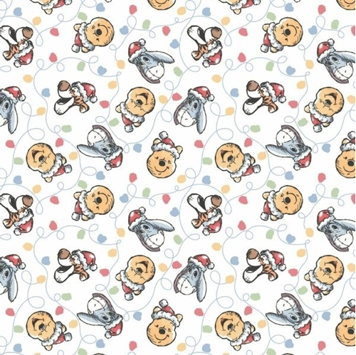 Character Holiday Disney Winnie the Pooh Festive Lights Cotton Fabric