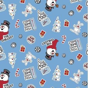 Character Winter Holiday Frosty Asset Toss Snowman Blue Cotton Fabric