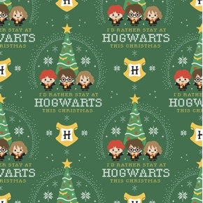 Character Winter Holiday Harry Potter Hogwarts Holiday Cotton Fabric