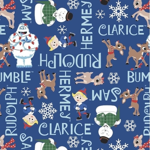 Character Winter Holiday II Rudolph Character Names Blue Cotton Fabric