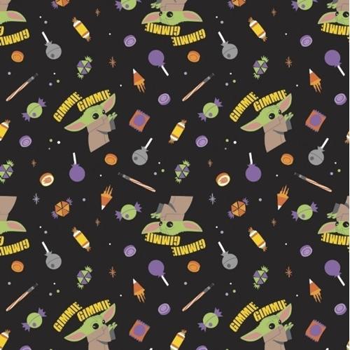 Halloween Character II Star Wars Yoda Gimme Candy Black Cotton Fabric