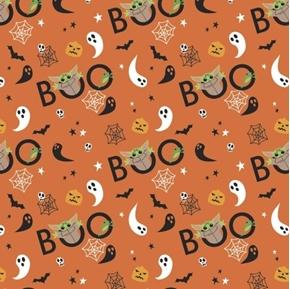 Halloween Character Star Wars Yoda Peekaboo Child Orange Cotton Fabric