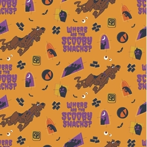 Scooby Doo Halloween Where are the Scooby Snacks Cotton Fabric