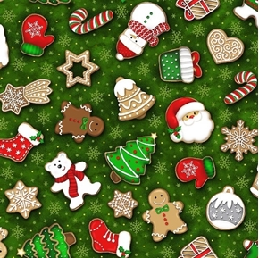 Noel Tossed Cookies Christmas Decorated Cookie Green Cotton Fabric